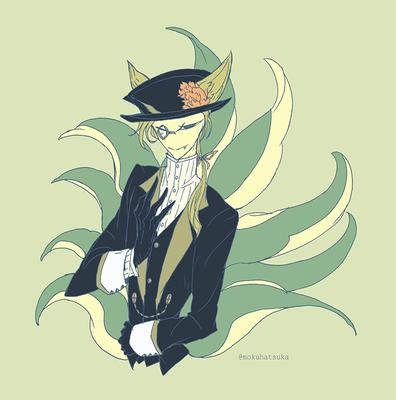 #人外版深夜の真剣お絵描き60分一本勝負 (洋風紳士な九尾の狐) 0429