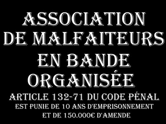 ASSOCIATION DE MALFAITEURS EN BANDE ORGANISEE  DIX Ans deEmprisonnement & 150.000€ d'amende voir site www.maisonnonconforme.fr