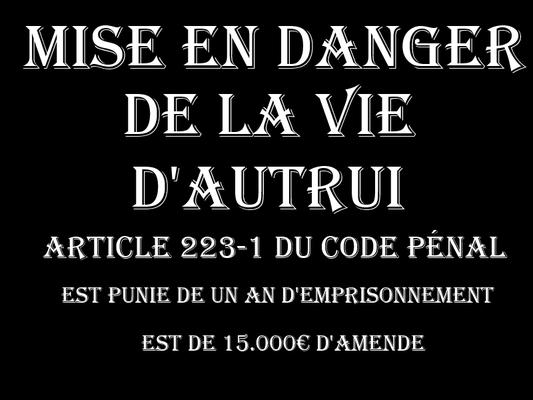 Mise en danger de la vie d'Autrui Un An deEmprisonnement & 15.000€ d'amende  voir site www.maisonnonconforme.fr