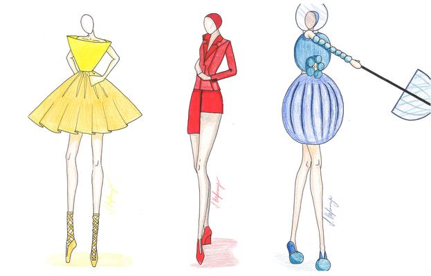 """Zeichnerische Umsetzung """"3 Figuren im Bauhaus-Stil"""" von Stella, 3. Klasse Modedesign."""