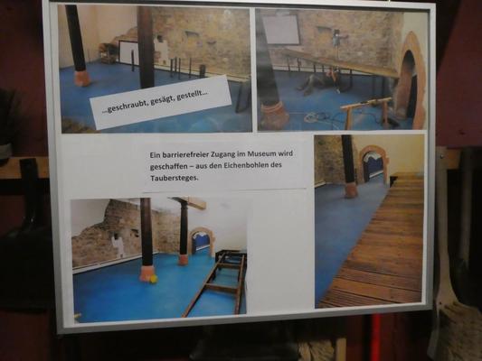 """Bild """"Ein barrierefreier Zugang im Museum wird geschaffen - aus den Eichenbohlen des Taubersteges"""""""