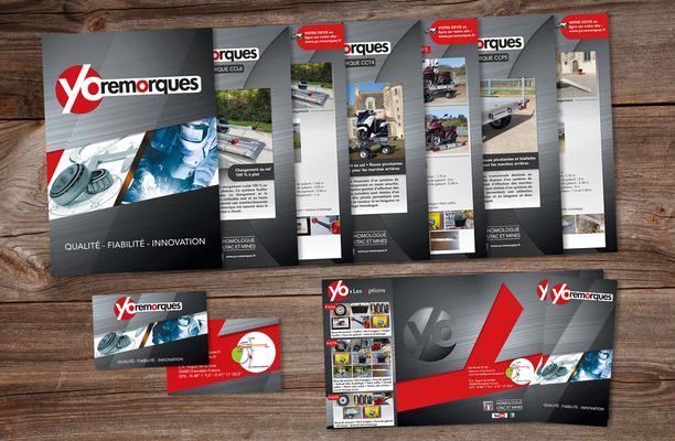 Création de supports de communication, mise en page et conception graphique, entreprise Yo Remorques (Vitré).