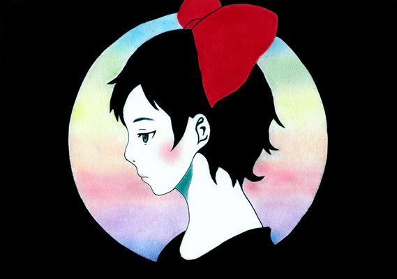 『リボンの少女』オリジナル、パステル、授業課題、2015