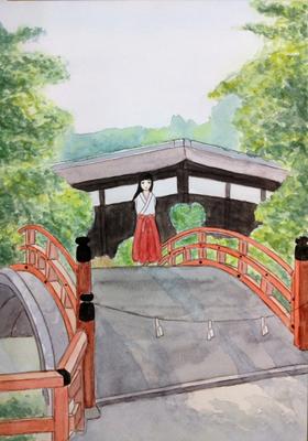 『下鴨に架かる』オリジナル、水彩、授業課題、2015