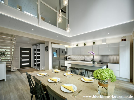 Blockhaus - Wohnblockhaus - Wohnzimmer - Wohnhaus - Architektenhaus  - © Blockhaus Kuusamo