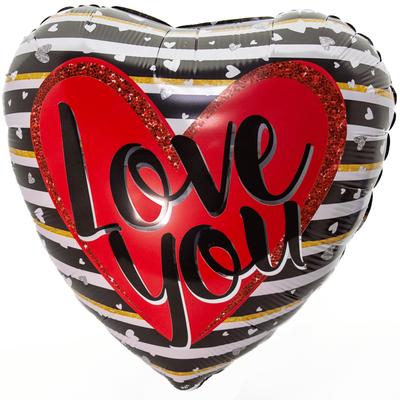 """Сердце """"I Love You!"""" полоски с сердечками, 45 см воздух 120 р., гелий 170 р."""