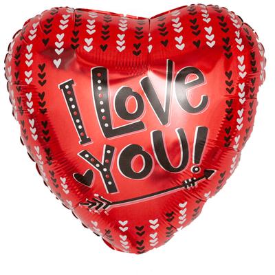 """Сердце """"I Love You!"""" стрела и сердечки, 45 см  воздух 120 р., гелий 170 р."""