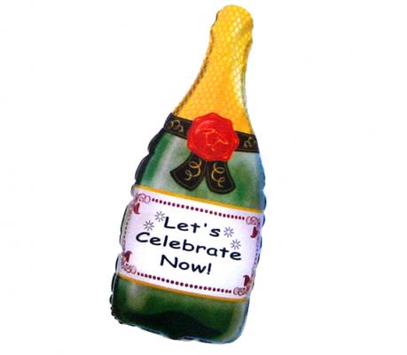 Бутылка шампанского выс. 75 см воздух 130 р., гелий 205 р.