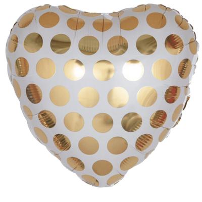 Сердце 45 см в золотой горох воздух 120 р., гелий 170 р.