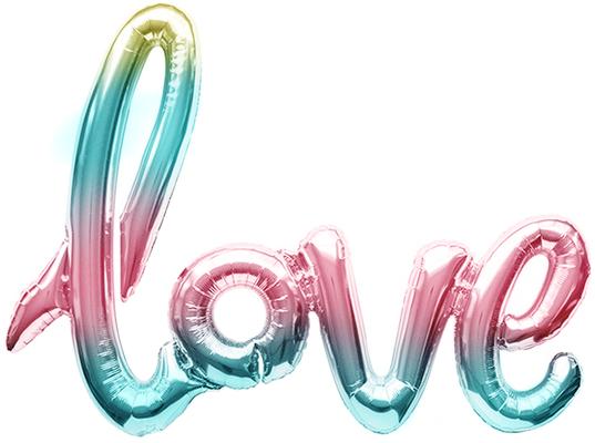"""Надпись """"Love"""" нежная радуга градиент  длина 102 см воздух 180 р."""