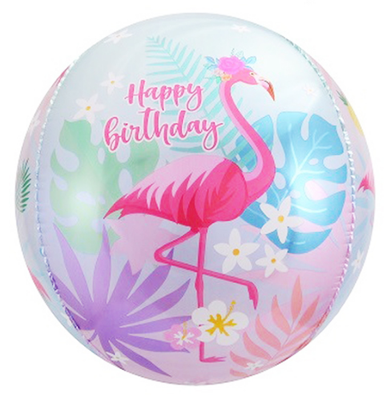 """3D сфера диаметр 40 см """"С днем рождения!"""" Фламинго воздух 185 р., гелий 345 р."""