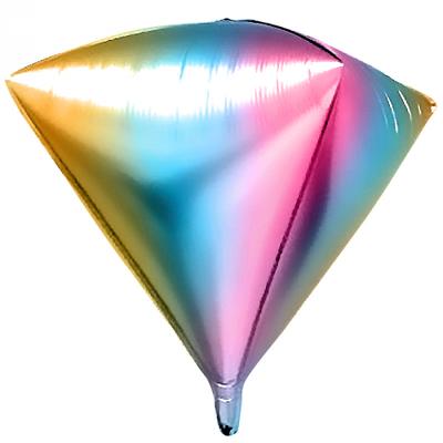3D фигура алмаз диагональ 55 см нежная радуга (градиент) воздух 130 р., гелий 230 р.