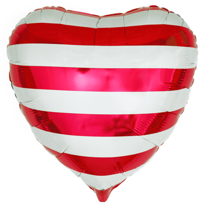 Сердце 45 см в красную полосу воздух 120 р., гелий 170 р.