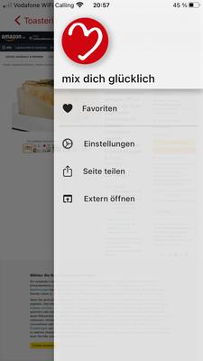 """Über """"Extern öffnen"""" könnt ihr meinen Blog im Browser öffnen oder bei Verlinkungen direkt die Amazon App öffnen etc."""