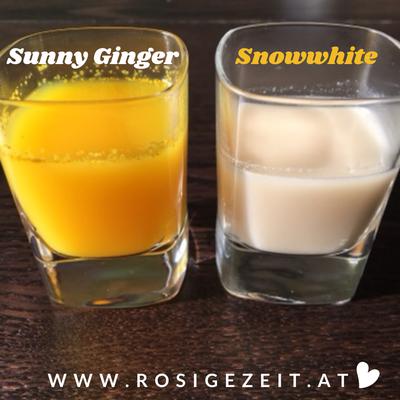 Immunshots Sunny Ginger mit Ingwer und Birnensaft und Snowwhite mit Kren