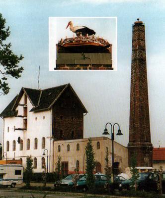 neue Nisthilfe auf Brennereischornstein am 27.04.2000
