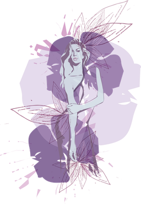 Fashionillustration floral, mit Illustrator entworfen, für Magazin, Corporate Identity, Logo, Beauty, Interieur, Design