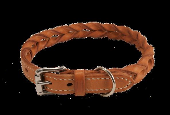 Geflochtenes Halsband / Größe: L / Breite: 2,0 cm / Farbe Oberleder: Natur/nicht gefärbt / Farbe Naht: Weiß /Preis: € 75,-