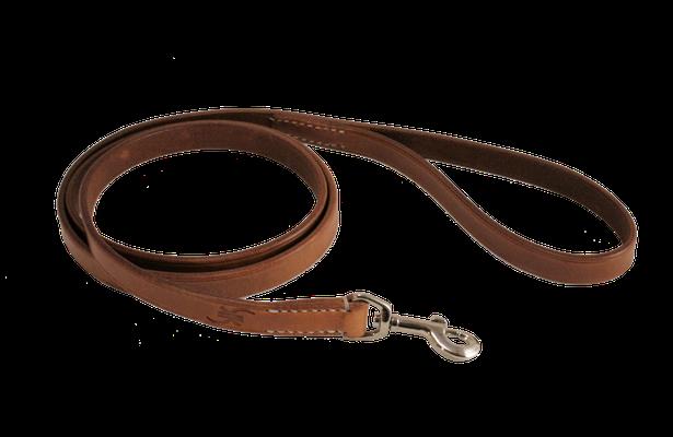 Hundeleine BASIC fix / Größe: S – 1,30 m / Breite: 2,0 cm / Farbe Oberleder: Natur/nicht gefärbt / Farbe Unterleder Handschlaufe: - / Farbe Naht: Weiß / Verzierung: -  / Preis: € 50,-
