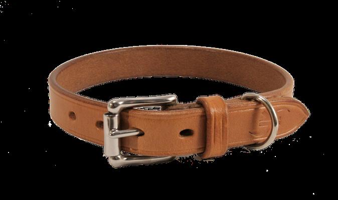 Halsband BASIC / Größe: S / Breite: 2,0 cm / D-Ring Position: neben der Schnalle / Farbe Oberleder: Natur/nicht gefärbt / Farbe Naht: Weiß / Verzierung: -  / Preis: € 45,-