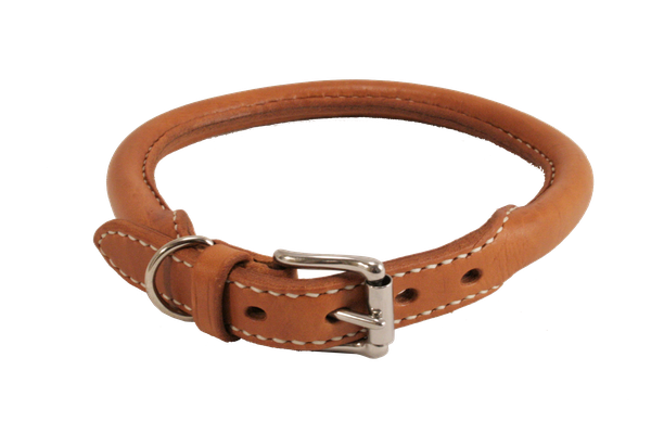 Rundgenähtes Halsband / Größe: S / Breite: 2,0 cm / Farbe Oberleder: Natur/nicht gefärbt / Farbe Naht: Weiß / Preis: € 69,-