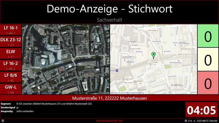 Demo-Anzeige: Einsatzinformationen