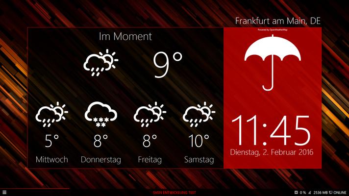 Standby-Anzeige: Wetter, Unwetterwarnungen & Wetterkarte