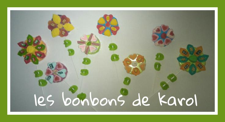 fleurs coeurs   pte : 3 € et grde 3,50 € (de 7 à 17 bonbons - pte 27 cm - grde 31 cm)