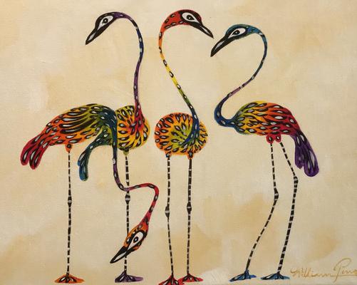 Regenbogen Kraniche, Acryl auf Leinwand. 25 x 30 cm.  30,00 €