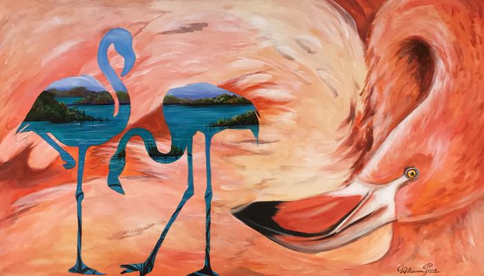 Flamingo, Acryl auf Leinwand. 50 x 70 cm.  120.00€