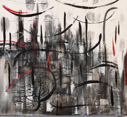 Abstrackt I, Mischtechnik auf Leinwand. 40 x 40 cm. 80.00€