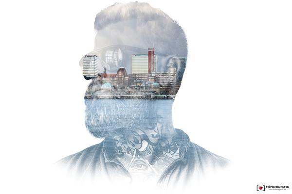 Doppelbelichtung als Fotokunst von Hamburg Landungsbrücken
