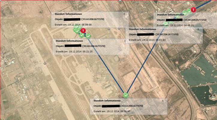 Wegstrecke Bagdad Airport