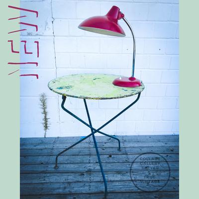 Französischer grüner Eisentisch, klappbar,