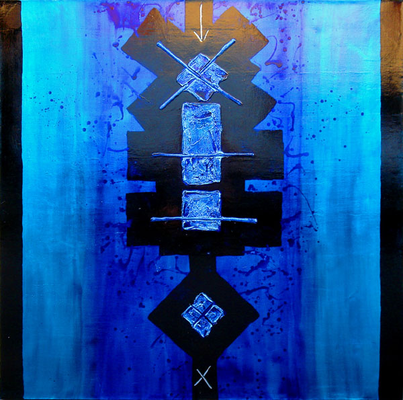 Walter van Oel, mixed media on canvas, 150x150 cm
