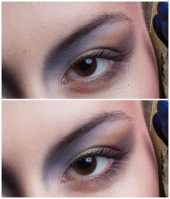 Close-Up Auge & Haut (noch ohne finalem Bildlook)