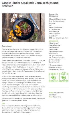 Ländle Rinder Steak mit Gemüsechips und Senfsalz