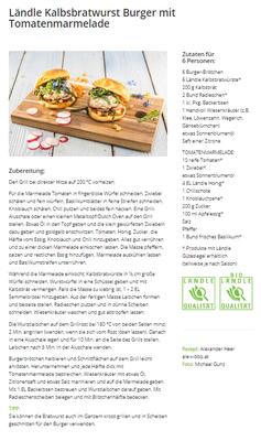 Ländle Kalbsbratwurst Burger mit Tomatenmarmelade