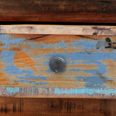 comodino +legno +recupero +etnico +riciclato +vintage +sandroshop