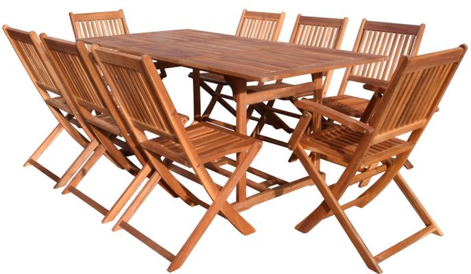 set giardino +legno +acacia +esterno +outdoor +sandroshop