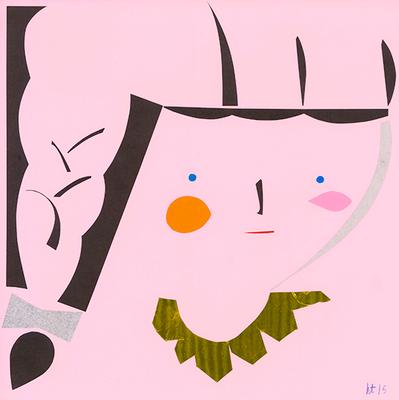 太三つ編みの少女 A Girl with a Big Braid 240 mm x 240 mm origami paper-cut 2015 Ⓒ Hanae Tanazawa