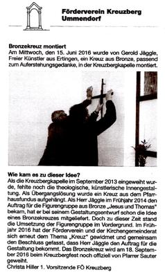 Artikel im Ummendorfer Gemeindeblatt vom 24.06.2016