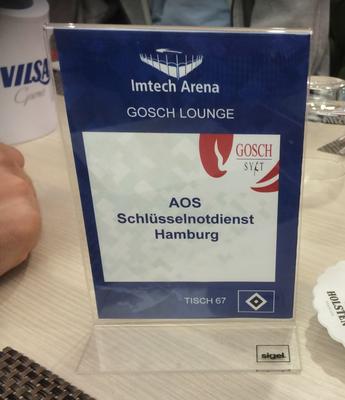 AOS Schlüsselnotdienst Hamburg Sponsoring beim HSV