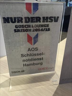 AOS Schlüsseldienst Hamburg Sponsoring beim HSV