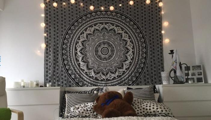 Großes Mandala Tuch mit Farbverlauf in schwarz grau