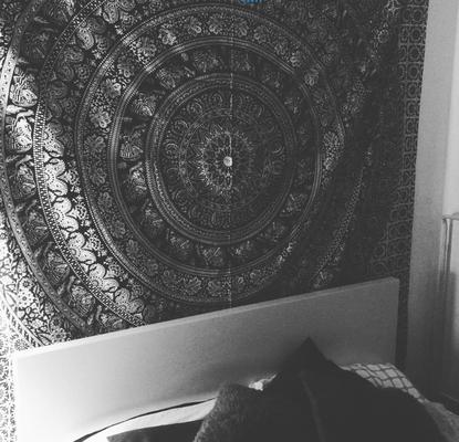 Wandtuch mit Elefanten Mandala weiß schwarz