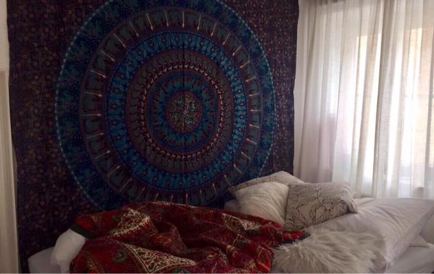 Wandtuch in blau mit Elefanten Mandala