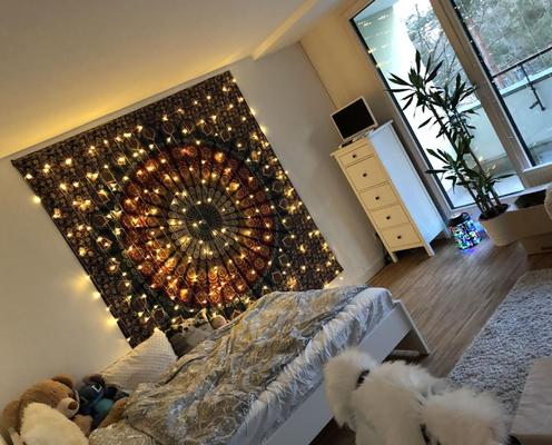 Wandtuch mit Lichterketten Vorhang