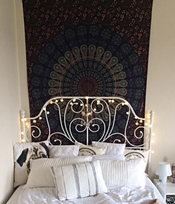 Wandtuch Modell blau türkis als Bett Hintergrund