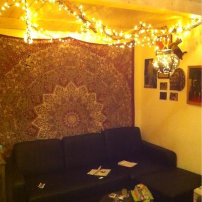 Mandala Wandtuch mit Lichterketten Himmel